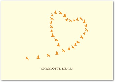 Love Birds Signature Ecru Thank You Cards Pumpkin