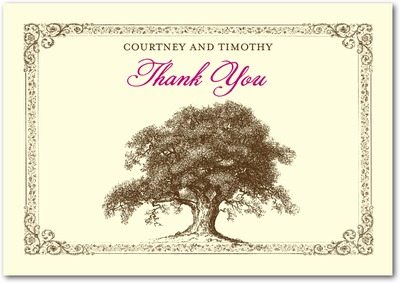 Tree Tale Signature Ecru Thank You Cards Azalea