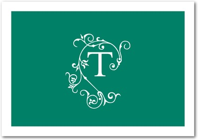 Sophisticated Monogram Signature White Thank You Cards Deep Sea Green