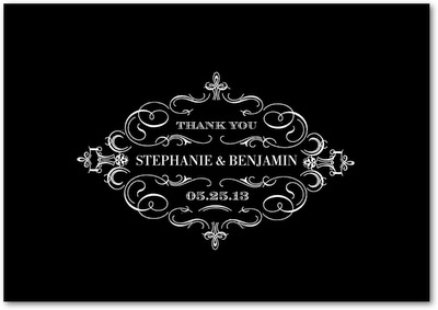 Swirl And Flourish Signature White Thank You Cards Black