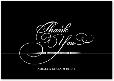Calligrapher Notes Signature White Thank You Cards Black