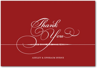 Calligrapher Notes Signature White Thank You Cards Rich Red