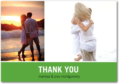 Modern Love Story Signature White Thank You Cards Green
