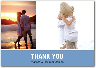 Modern Love Story Signature White Thank You Cards Lapis
