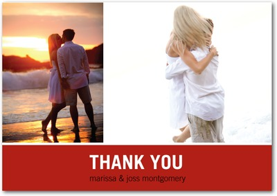 Modern Love Story Signature White Thank You Cards Ruby