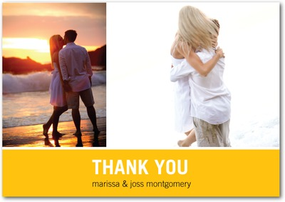 Modern Love Story Signature White Thank You Cards Sunny Yellow