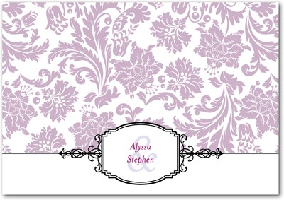 Monogrammed Grace Signature White Thank You Cards Purple
