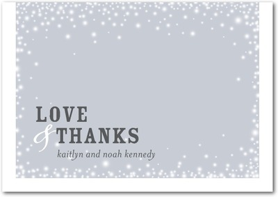 Framed Snowflakes Signature White Thank You Cards Silverberry