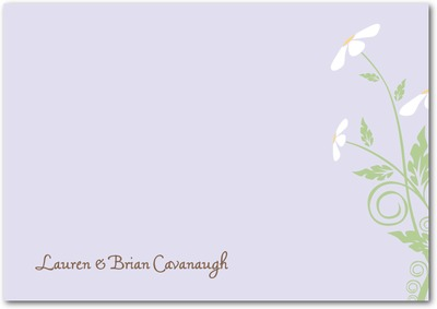 Delicate Daisies Signature White Thank You Cards Sheer Lilac