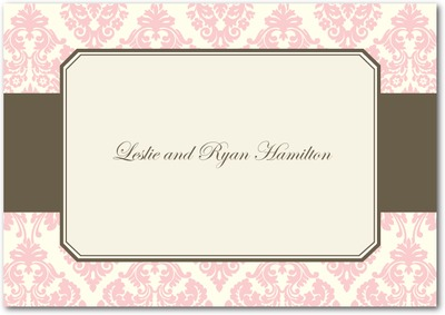 Designer Damask Signature White Thank You Cards Soft Pink