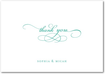 Endearing Script Signature White Thank You Cards Bay