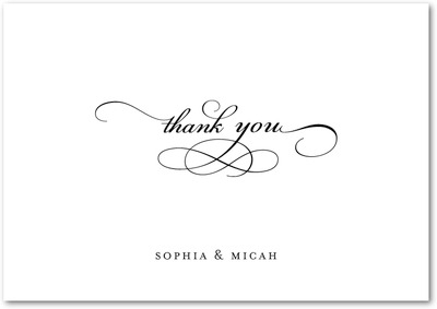 Endearing Script Signature White Thank You Cards Black