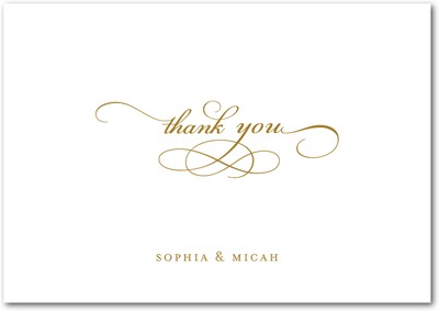Endearing Script Signature White Thank You Cards Umber