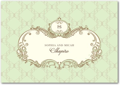 Lavishly Elegant Signature White Thank You Cards Wasabi