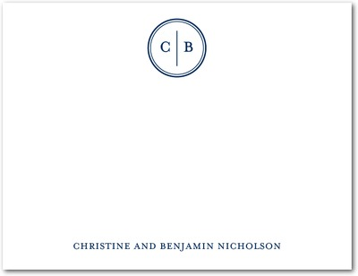 Solid Monogram Signature White Thank You Cards Navy