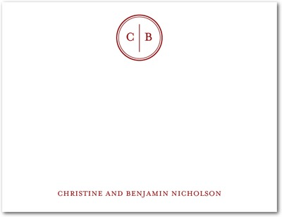 Solid Monogram Signature White Thank You Cards Rich Red