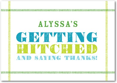 Getting Hitched Signature White Thank You Cards Green