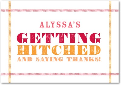 Getting Hitched Signature White Thank You Cards Medium Pink