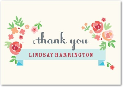 Blooming Banner Signature White Thank You Cards Cranberry