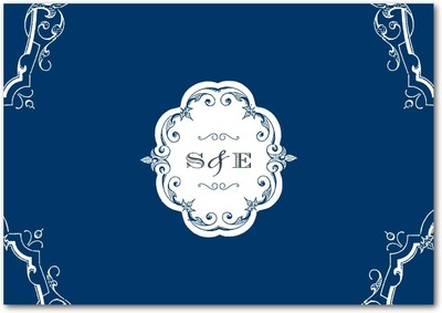 Baroque Scrolls Signature White Thank You Cards Gibraltar