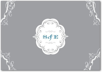 Baroque Scrolls Signature White Thank You Cards Smoke