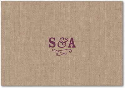Burlap Monogram Signature White Thank You Cards Chambord