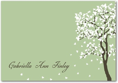 Blossom Breeze Signature White Thank You Cards Pistachio
