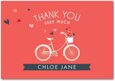 Bridal Bicycle Signature white thank you cards Coral