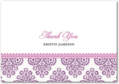 Paisley Damask Signature white thank you cards Eggplant