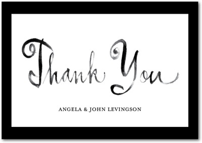 Stylish Script Signature White Thank You Cards Black Russian