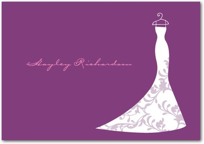 Dazzling Dress Signature White Thank You Cards Eggplant