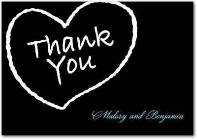 Almost Married Signature White Thank You Cards Black
