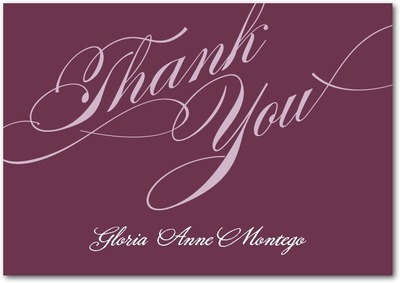 Grandiose Type Signature White Thank You Cards Chambord
