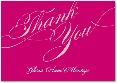 Grandiose Type Signature White Thank You Cards Sassy