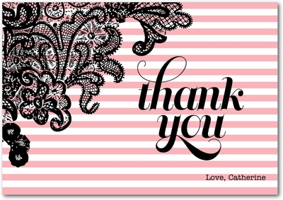 Secret Stripes Signature White Thank You Cards Rose