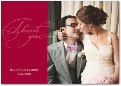 Opulent Script Signature White Thank You Cards Lipstick