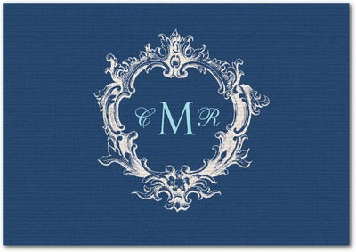 Textured Linen Signature White Thank You Cards Navy