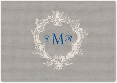 Textured Linen Signature White Thank You Cards Smoke