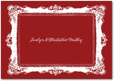 Refined Frame Signature White Thank You Cards Rich Red