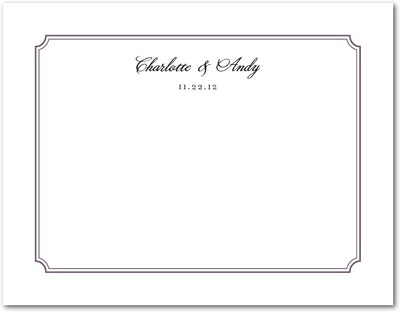 Stately Frame Signature White Thank You Cards Deep Purple