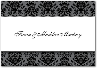 Formal Damask Signature White Thank You Cards Black
