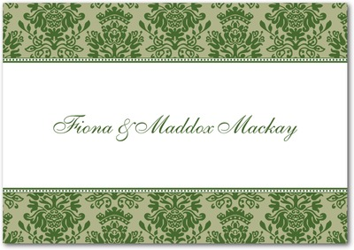 Formal Damask Signature White Thank You Cards Evergreen