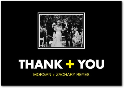 Romantic Math Signature White Thank You Cards Sunny Yellow