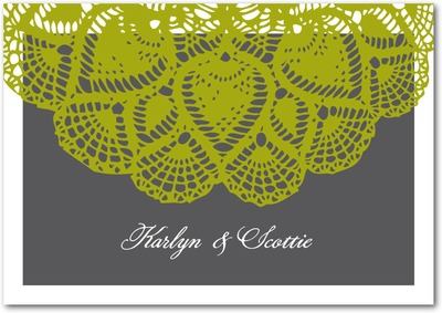Lacy Elegance Signature White Thank You Cards Chartreuse