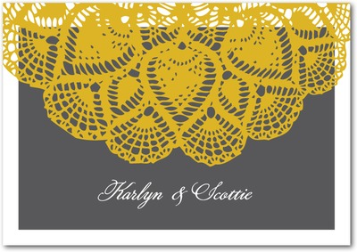 Lacy Elegance Signature White Thank You Cards Goldenrod