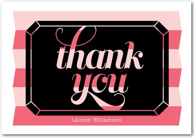 Diamond Night Signature White Thank You Cards Medium Pink