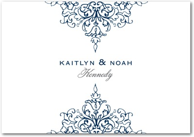 Opulent Crest Signature White Thank You Cards Stormy Blue