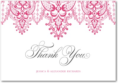 Curtain Call Signature White Thank You Cards Begonia