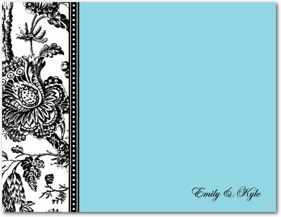 Modern Toile Signature White Thank You Cards Sky