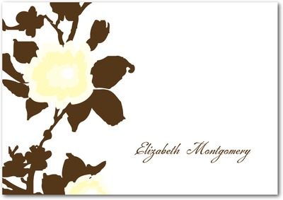 Rich Floral Signature White Thank You Cards Chocolate